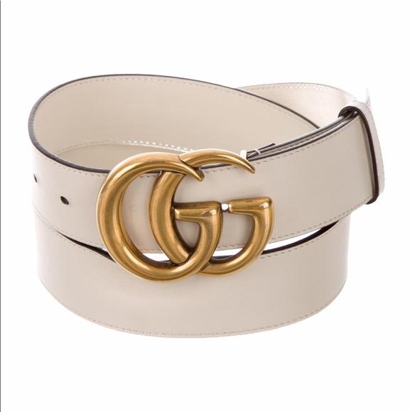 Gucci Marmont Belt sz 90 white cream gold